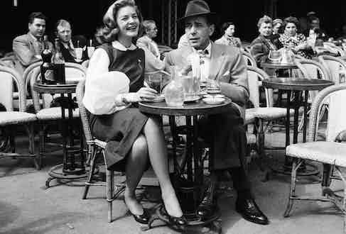 Lauren Bacall and Humphrey Bogart in Paris.