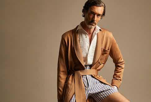 Richard Biudel In Yuri & Yuri Boxer Shorts and Dressing Gown.