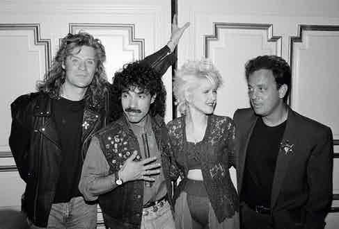 Daryl Hall, John Oates, Cyndi Lauper and Billy Joel in 1988.