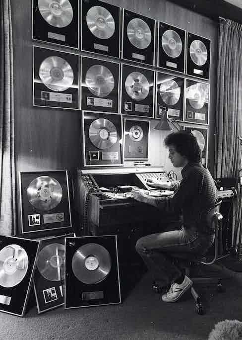 Joel in his home's music studio in 1978.