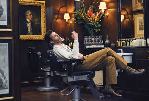 Cream, blue and yellow wool knitted shirt and nutmeg brown cotton pleated trousers, both King & Tuckfield at The Rake; brown and beige cotton socks, The London Sock Company x Ilaria Urbinati; tan leather tassel loafers, Crockett & Jones.