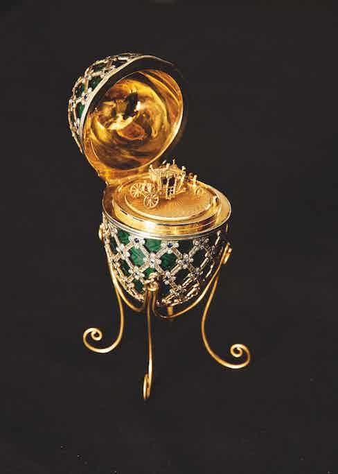 The Fabergé Egg, created by Asprey for Octopussy, with the interior carriage designs.