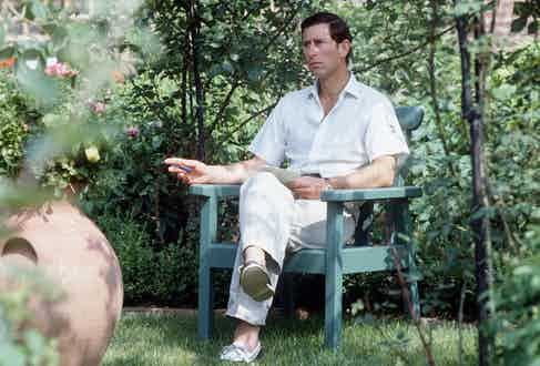 Prince Charles sitting In his garden at Highgrove, Gloucestershire. (Photo by Tim Graham Photo Library via Getty Images)