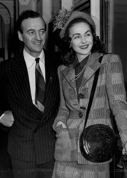 David Niven with Wife Hjordis Tersmeden At Cafe De Paris 1954. Photo by ANL/Shutterstock (2017056a)