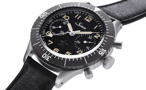 """Donated out of Revolution's archives to the Covid-19 Solidarity Auction is the Sinn 155 """"Dark Star"""" Bundeswehr Chronograph"""