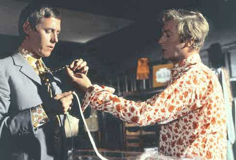 Still life in the Mr Fish boutique with Michael Caine in the Italian Job, 1969. Photo by Paramount/Oakhurst Productions/Kobal/Shutterstock.