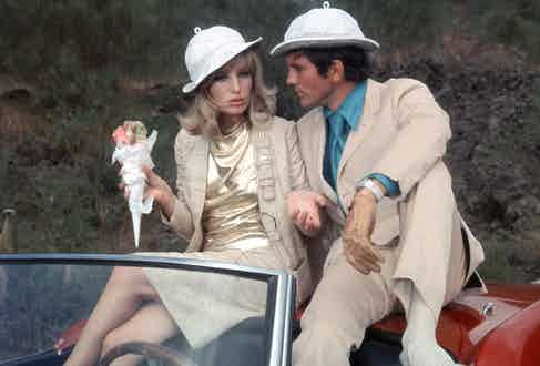 Monica Vitti and Terence Stamp in Modesty Blaise, 1966. Photo by 20th Century Fox/Kobal/Shutterstock.