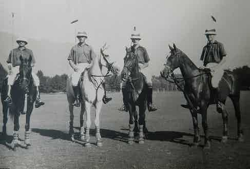 British officers playing polo in India
