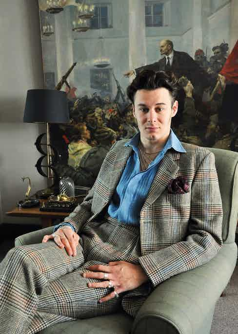 """Max, like Nick, is wearing an eighties Hackett bespoke suit, which was one of three suits he claimed from his benevolent father in one sitting. """"The problem with wearing lovely old clothes of my father's is as soon as he sees them, he wants them back."""" The pleated denim shirt is from Favourbrook."""