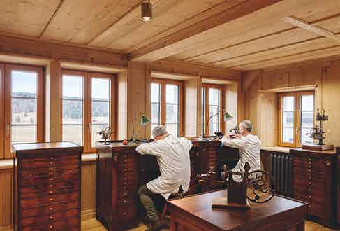 Audemars Piguet watchmakers at their new stations in the Restoration Atelier