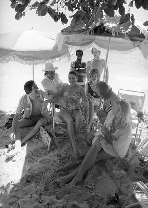 HRH The Princess Margaret with friends including The Hon Colin Tennant, Lady Anne Tennant, Mr Basil Charles and Mr Nicholas Courtney on Mustique on 9th March 1972. (Photo by Lichfield/Getty Images).