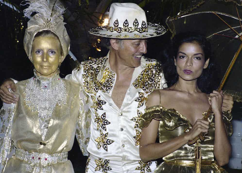 Colin Tennant and his wife Lady Anne and Bianca Jagger on Mustique, 1976. (Photo by Lichfield/Getty Images)