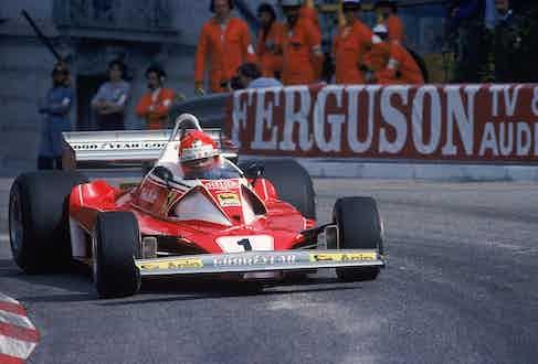 Ferrari driver Niki Lauda in action during the Formula One Monaco Grand Prix, Mandatory Credit: Tony Duffy /Allsport