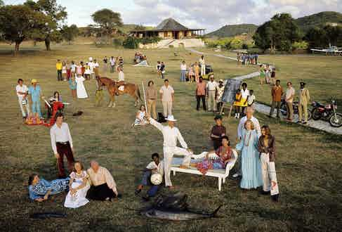 HRH The Princess Margaret photographed with the community on Mustique on 24th February 1973.