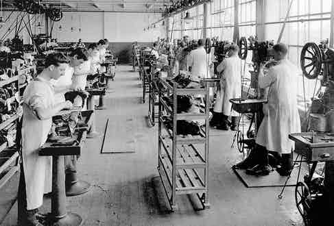 Welt sewing, circa 1920