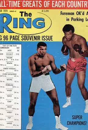 Ali and George Foreman on the cover of The Ring, 1974 (Photo courtesy of Getty Images)