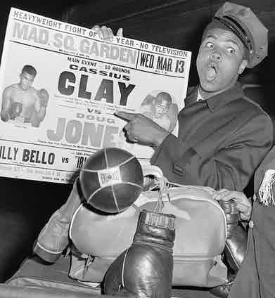 showing his name on the fight card for a bout against Doug Jones at Madison Square Garden in 1963 (Photo courtesy of Getty Images)