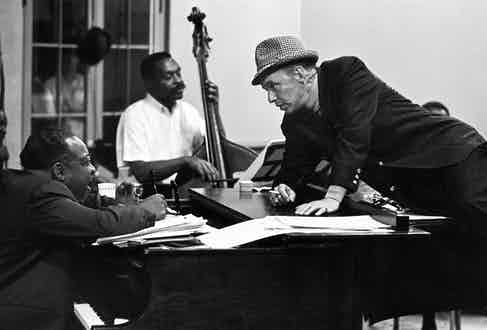 Sinatra chats with Count Basie during rehearsals for a show in Las Vegas in 1964 (Photo by John Dominis/The LIFE Picture Collection via Getty Images)
