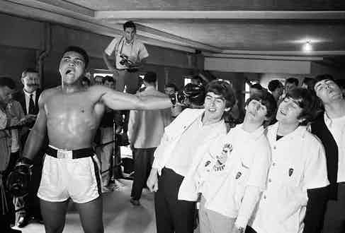 Ali takes on the Beatles before his 1964 world heavyweight title fight with Liston (Photo courtesy of Getty Images)