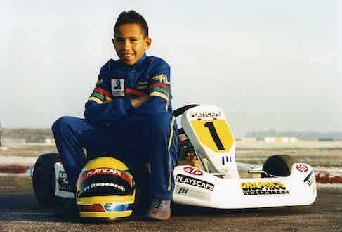 Hamilton, aged 10, racing in the British Junior Go Kart championship,1995 (Photo by Popperfoto via Getty Images/Getty Images)