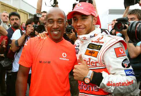 With his father, Anthony, after winning his first F1 Grand Prix, in Canada in 2007 (Photo courtesy of Getty Images)