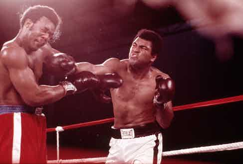George Foreman and Ali in the Rumble in the Jungle, Kinshasa, 1974. (Photo courtesy of Getty Images)