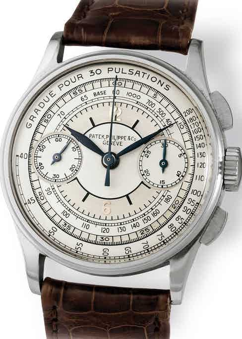 A Patek Philippe ref. 130 (Type 5) featuring a sector dial that incorporates two important scales, a tachymeter and a pulsometer.