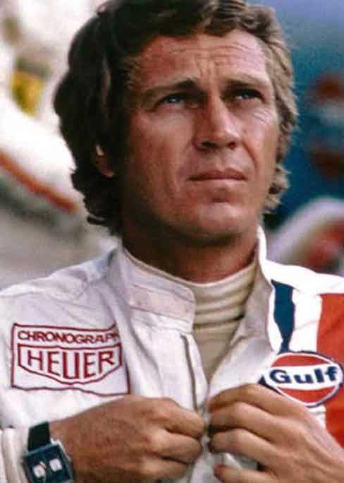 Steve McQueen wearing the Heuer Monaco in a scene from Le Mans (1971)