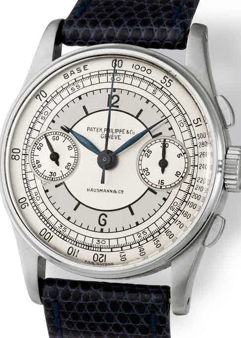 """A rare ref. 130 with sector dial with just a tachymeter and signed """"Hausmann & Co."""""""