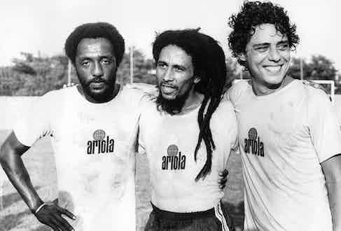 On a football field in Rio de Janeiro in 1980.