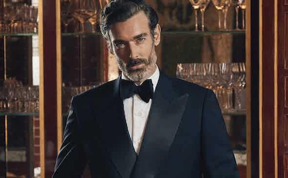 The Rake Tailored Garments: Midnight Blue Italian Mohair Double-Breasted Tuxedo
