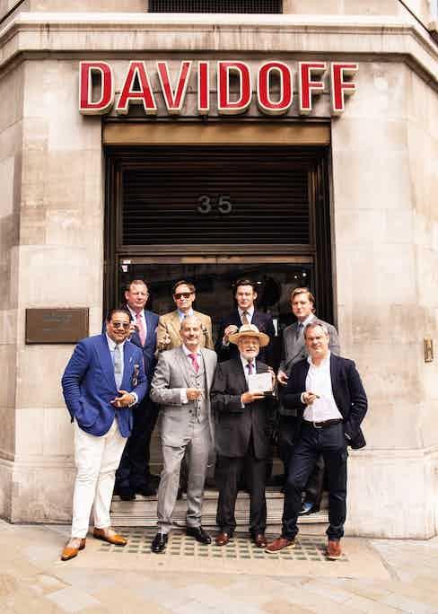 Sahakian, Eddie Sahakian, and Shary Rahman outside Davidoff of London, where they celebrated the launch of the 40th anniversary cigar.