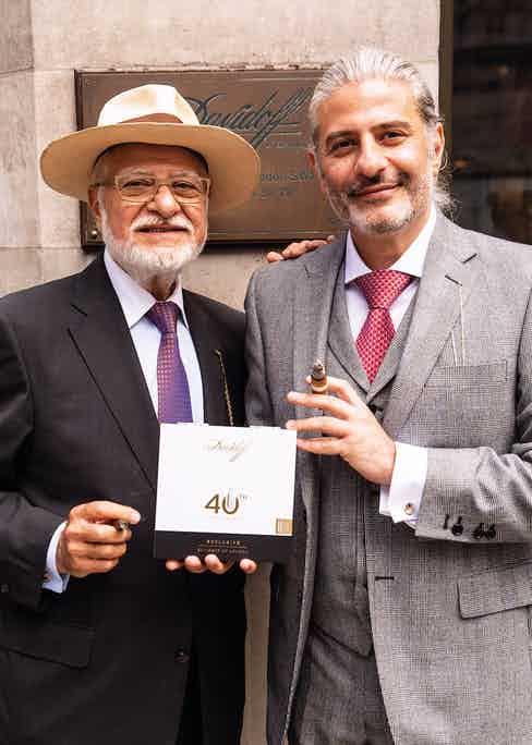 Edward and Eddie Sahakian with their box of cigars