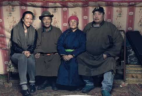 Tengri's founder, Nancy Johnston, with a herder family in the Khangai region of Mongolia