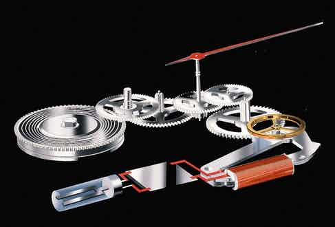 The interaction between the gear train, glide wheel and electromagnet regulation.