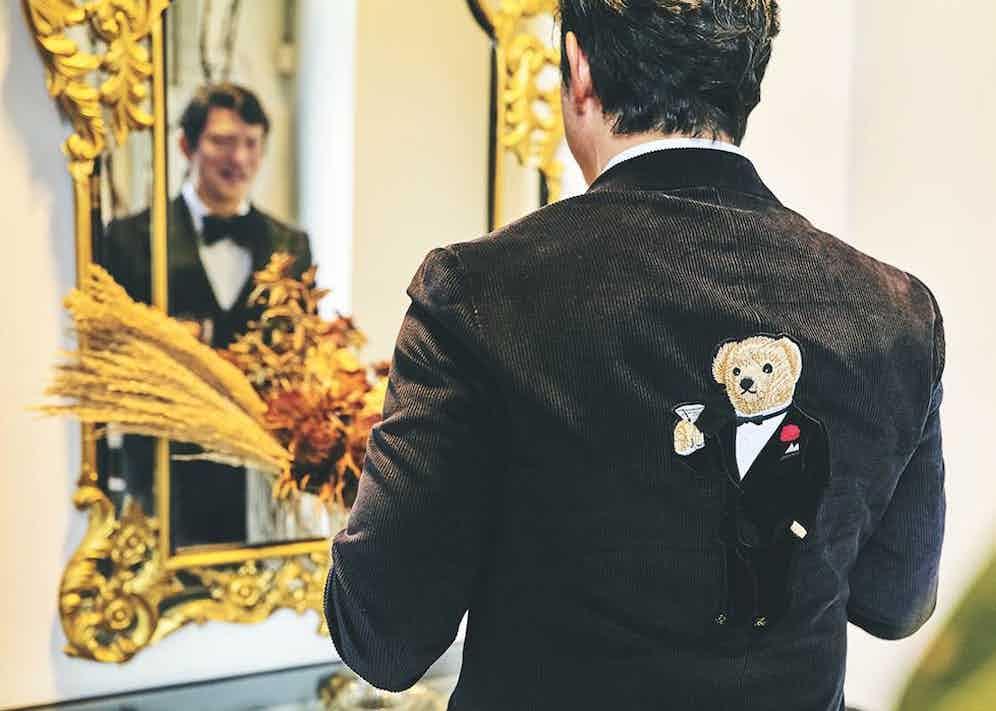 Wei Koh in his Bear-emblazoned corduroy dinner suit.
