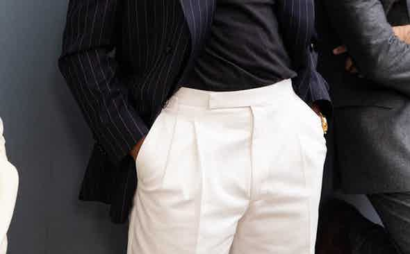The Rake Tailored Garments: White Whipcord Cotton Trousers