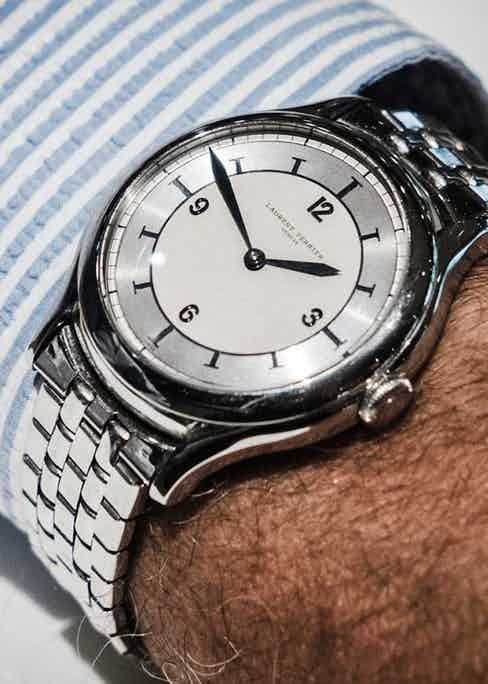 Auro Montanari's special Laurent Ferrier Micro-Rotor watch on a vintage Gay Frères (©Revolution)