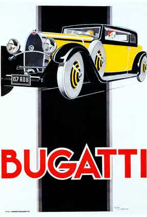 French Art Deco poster by Rene Vincent for the classic Italian saloon car, 1930.