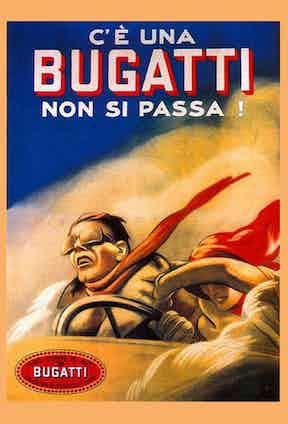 A retro Bugatti poster by Marcello Dudovich, 1922. (Photo courtesy of Getty)