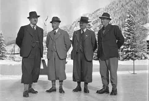 Tweeded gentlemen about to enjoy a game of curling, 1944 Photo by ATP/RDB/ullstein bild via Getty Images)