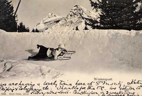 The Cresta Run at St. Moritz, Switzerland, circa 1904. (Photo by Popperfoto/Getty Images)