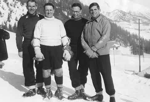 The Royal Navy bobsleigh team that took part in the Inter-Services Championships at the Cresta Run, St Moritz, Switzerland.(Left to right) Commander J M Balfour, RN, Lt B C Kavanagh, Instructor Lt A H Jones and Lt (E) D J Heaton.  (Photo by William Vanderson/Fox Photos/Getty Images)