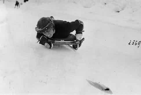 A skeleton tobogganist on the Cresta run. (Photo by Hulton Archive/Getty Images)