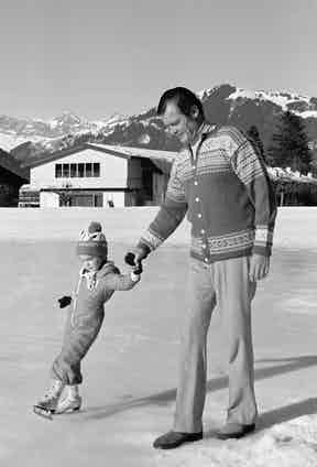 Roger Moore with son Christian in 1977, (Photo by Bertrand LAFORET/Gamma-Rapho via Getty Images)