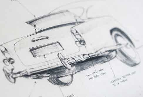 Sketches in the design process for the Aston Martin DB5 Goldfinger Continuation