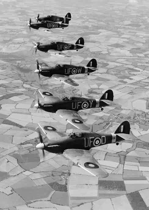 Six Hurricane fighter planes of 601 Squadron in August 1941 (Photo via Getty)