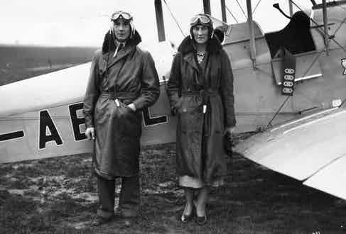 William Henry Rhodes-Moorhouse and his mother at Hanworth aerodrome (Photo via Getty)