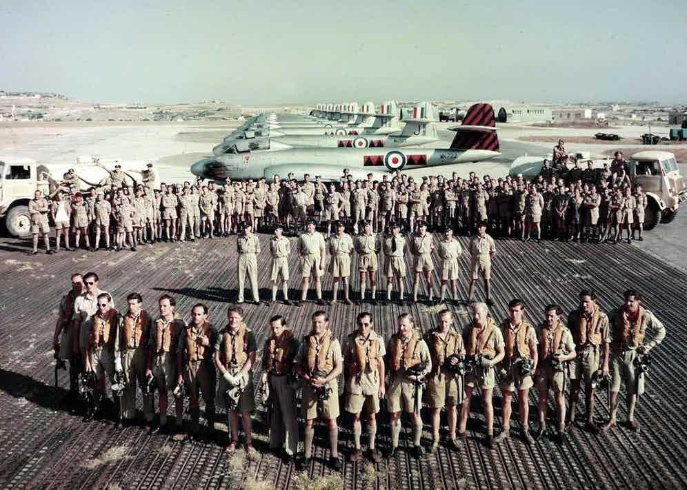 601 Squadron parade with their Meteor 8 aircraft in Malta, 1953 (Photo via Getty)
