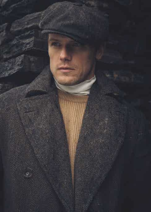 Polo coat made in Abraham Moon cloth for the Campaign for Wool, Anderson & Sheppard; white wool roll-neck, John Smedley; ribbed cashmere shawl sweater, Anderson & Sheppard; Shetland brown Donegal trousers, Walker Slater at The Rake; black Utah 'Kentmere' boots, Edward Green at The Rake; Sandwich tweed cap, Lock & Co